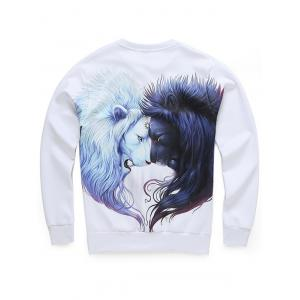Long Sleeve 3D Lion Print Crew Neck Sweatshirt -