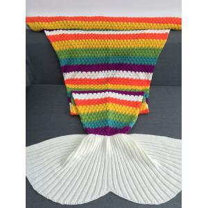 Rainbow Color Crochet Knitting Mermaid Tail Design Blanket -