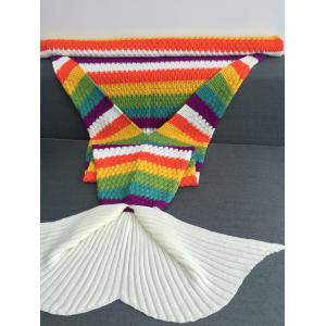 Rainbow Color Crochet Knitting Mermaid Tail Design Blanket - COLORMIX W31.50INCH*L70.70INCH
