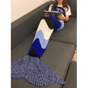 Comfortable Crochet Knitting Color Block Mermaid Blanket - COLORMIX W31.50INCH*L70.70INCH