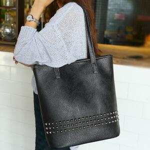 PU Leather Rivet Embellished Shoulder Bag - BLACK