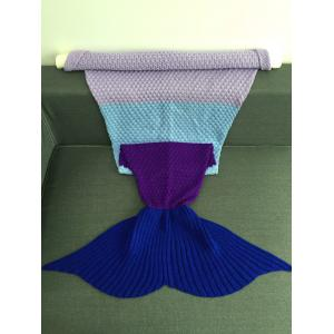 Warmth Assorted Color Knitted Mermaid Tail Blanket - COLORMIX W31.50INCH*L70.70INCH