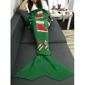 Christmas Gift and Snow Man Knitted Mermaid Tail Blanket - GREEN