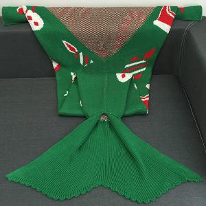 Christmas Gift and Snow Man Knitted Mermaid Tail Blanket -