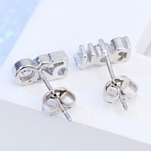 Pair of Rhinestone Number Stud Earrings -
