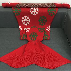 Christmas Snows Design Knitted Mermaid Tail Blanket - RED