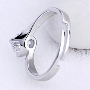 Adjustable Rhinestone Ring - SILVER ONE-SIZE