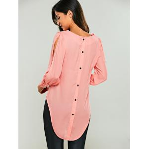 Split Sleeve Chiffon Blouse - PINK XL