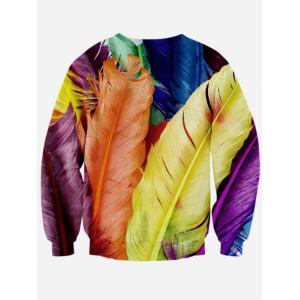 Colorful Feather 3D Print Long Sleeve Crew Neck Sweatshirt - COLORMIX L