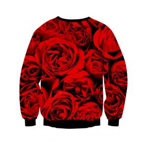 Rose Skull 3D Print Long Sleeve Crew Neck Sweatshirt - RED + BLACK L