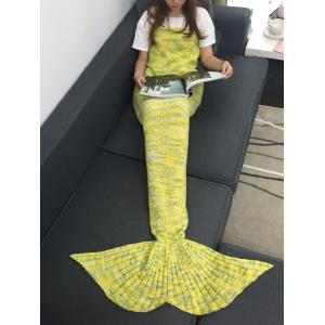 Warmth Acrylic Knitted Multi-Colored Mermaid Tail Blanket - YELLOW W31.50INCH*L70.70INCH