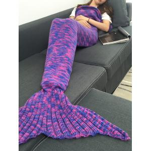 Comfortable Colormix Acrylic Knitted Mermaid Tail Blanket - COLORMIX W31.50INCH*L70.70INCH