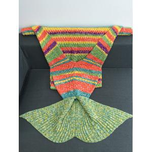 Warmth Colorful Striped Acrylic Knitting Mermaid Blanket - COLORMIX W31.50INCH*L70.70INCH
