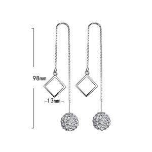 Pair of Ball Square Ear Threads - SILVER