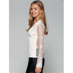 See-Through Back Long Sleeve Lace Top -