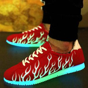 Lace Up Suede Nuit Growing Chaussures Fluorescent - Rouge 40
