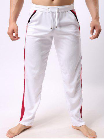 Sale Lace-Up Color Block Edging Splicing Straight Leg Sports Pants WHITE L