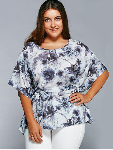 Buy Plus Size Ink Painting Floral Blouse