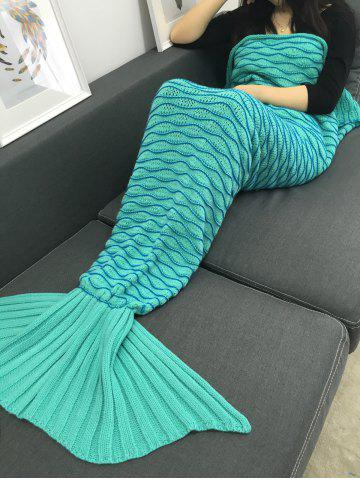 Outfit Super Soft Knitting Wave Stripe Mermaid Tail Design Blanket LIGHT GREEN