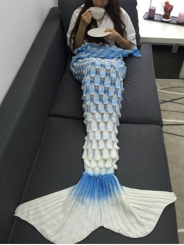 Chic Creative Openwork Design Ombre Color Knitted Mermaid Blanket COLORMIX