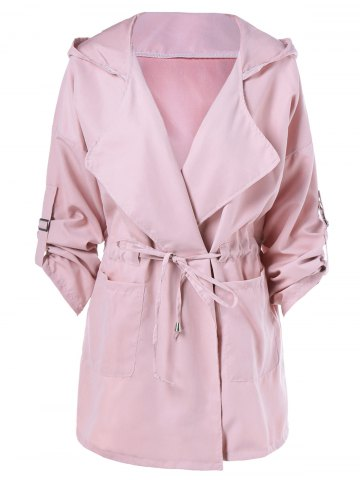 Outfit Hooded Drawstring Trench Coat - XL PINK Mobile