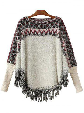 Best Cape Fringed Geometric Print Sweater WHITE ONE SIZE