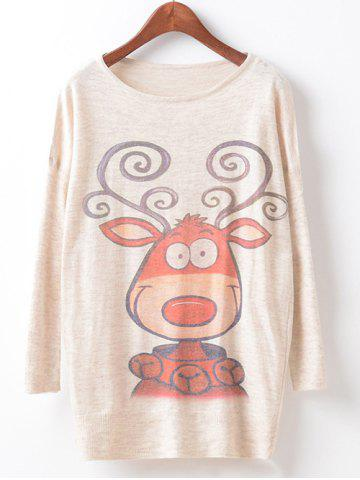 Cheap Loose Printed Cute Sweater BEIGE ONE SIZE