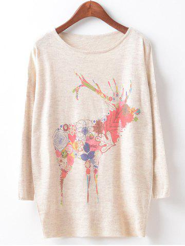 Outfit Loose Fawn Print Cute Sweater BEIGE ONE SIZE