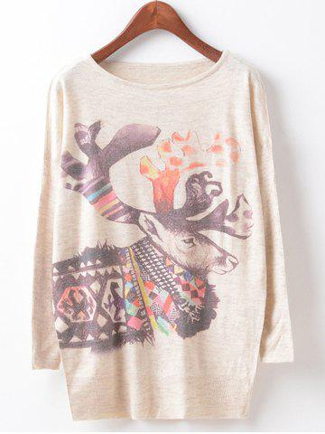 Chic Loose Cute Printed Sweater BEIGE ONE SIZE