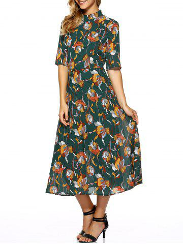 Discount Printed Vintage Fit and Flare Dress DEEP GREEN XL