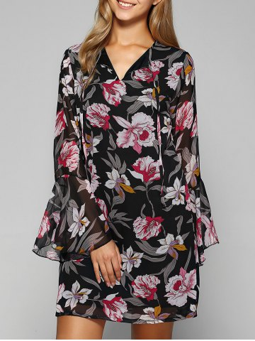 Online Bell Sleeve Flower Print Chiffon Dress
