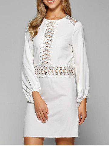 Hot Openwork Lace Long Sleeve Straight Dress