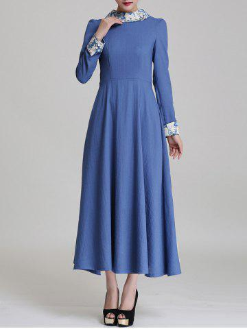 Hot Long Sleeve Maxi Fit and Flare Dress
