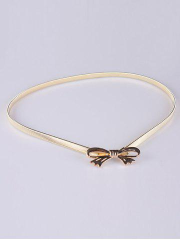 Affordable Out Wear Hollow Out Bowknot Elastic Metal Skinny Belt GOLDEN