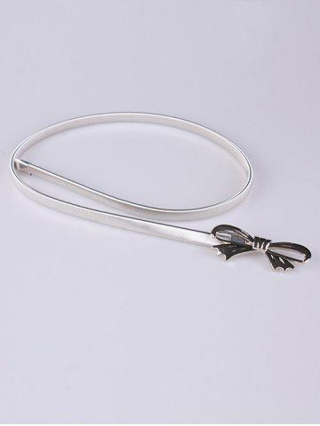 Trendy Out Wear Hollow Out Bowknot Elastic Metal Skinny Belt - SILVER  Mobile