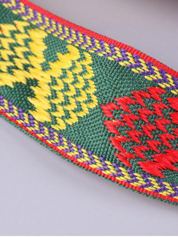 New Aztec Embroidery Weaving Tassel Canvas Belt - RED  Mobile