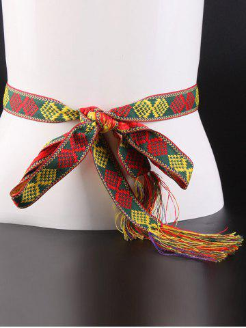 Online Aztec Embroidery Weaving Tassel Canvas Belt - RED  Mobile