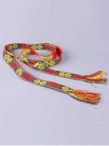 Outfits Aztec Embroidery Weaving Tassel Canvas Belt - RED  Mobile