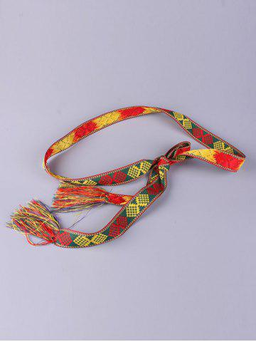 Discount Aztec Embroidery Weaving Tassel Canvas Belt - RED  Mobile