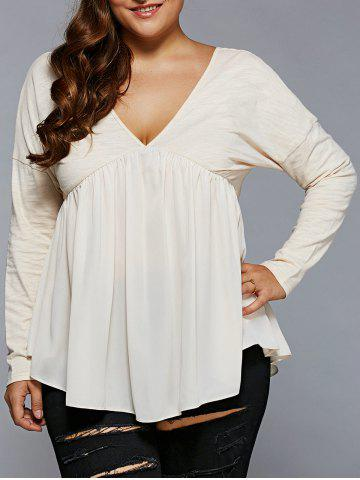Best Plus Size Open Back Smock Blouse IVORY YELLOW 2XL