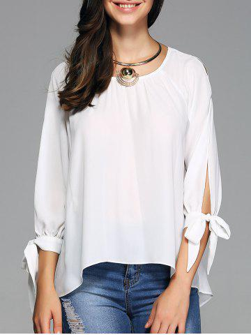 Trendy Slit Sleeve High Low Hem Blouse