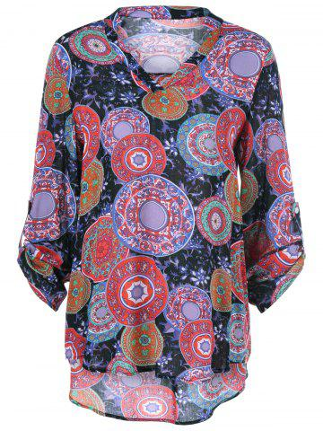 Outfit Adjustable Sleeve Tribal Floral Blouse