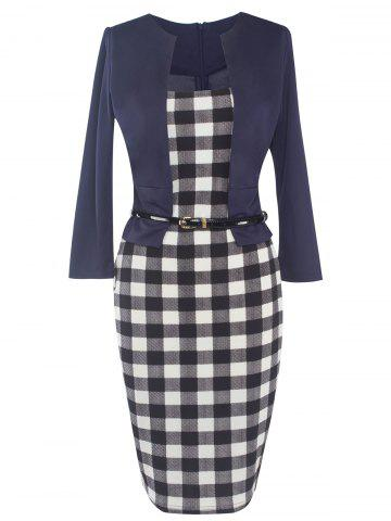 Fashion Faux Two-Piece Checkered Belted Dress CHECKED 2XL