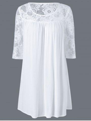 Buy Floral Lace Splicing Peasant Dress