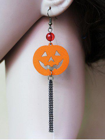 Cheap Pair of Halloween Pumpkin Tassel Earrings SWEET ORANGE