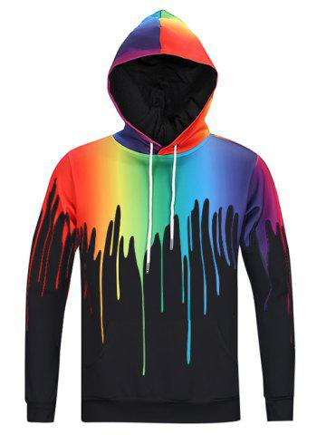 Store New Look Paint Splash Print Long Sleeve Hoodie For Men
