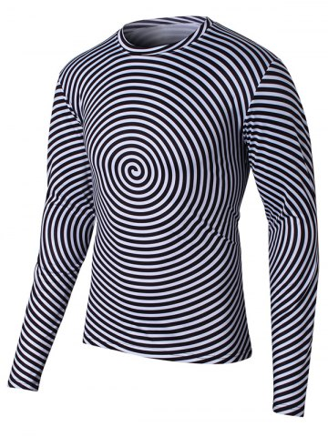 Affordable Long Sleeve Round Neck Swirl Print T-Shirt