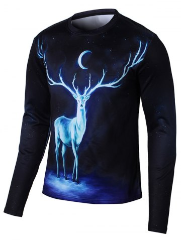 Cheap Elk 3D Print Long Sleeve Galaxy T-Shirt - L BLACK Mobile
