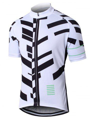 Hot Geometric Print Raglan Sleeve Zip Up Perforated Cycling Top WHITE 3XL