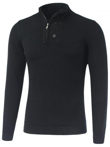 Outfit Stand Collar Ribbed Half-Zip Sweater
